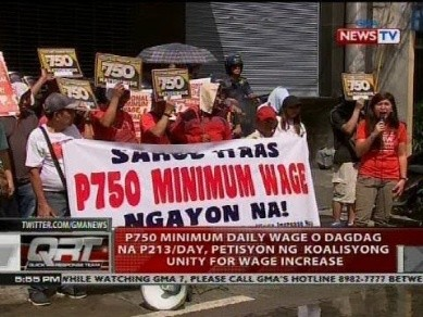 劳工团体寻求菲律宾大马尼拉最低工资至750披索